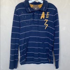AMERICAN EAGLE LONG SLEEVE STRIPED SHIRT- M